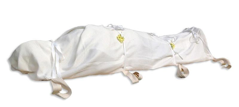 natural burial shrouded body in natural fibre