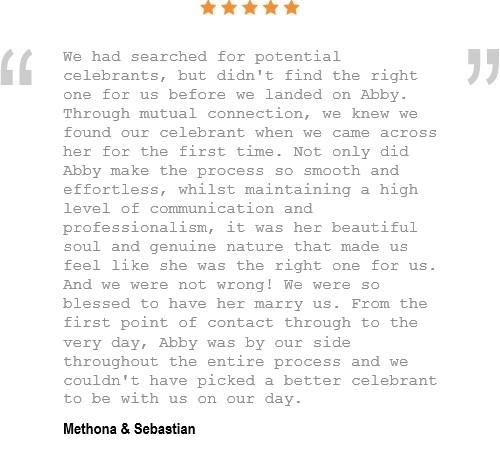 Testimonial for Abby Buckley as a wedding celebrant
